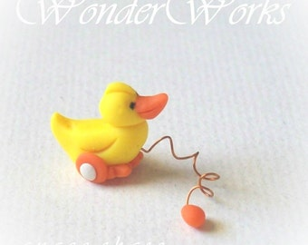 1 Yellow Ducky Pull Toy - Miniature Original Hand Sculpted 1 Inch Scale Dollhouse Toy