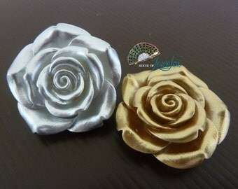 Large GOLD or SILVER Resin Rose Flower Beads, 40mm - 4x