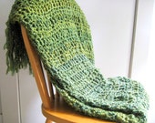 Crocheted Afgahn Throw Blanket  with Fringe-Shades of Green Throw Blanket, Blanket,  Home Decor,  Interior Design Ready To Ship