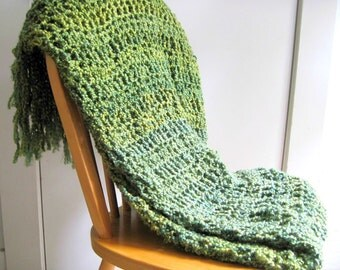 Crocheted Afgahn Throw Blanket  with Fringe-Shades of Green Throw Blanket, Blanket,  Home Decor,  Interior Design Made to Order