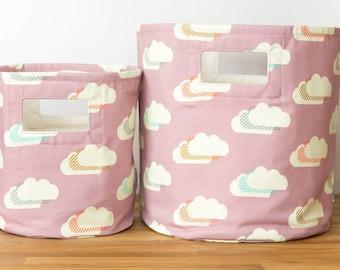 Purple Cloud Canvas Storage Basket