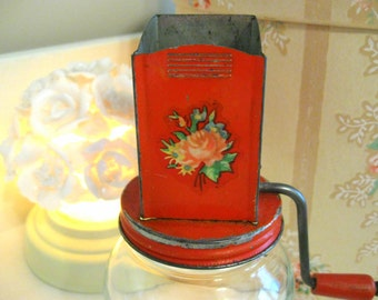 Vintage Nut Grinder with Meyercord Rose Floral Decal Red