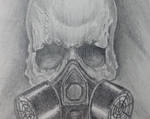 Skull Gas Mask - Is it ever too late? Original OOAK pencil Drawing, framed.