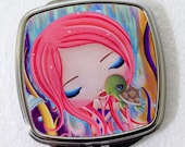 COMPACT MIRROR, metal, glass, pocket mirror, mermaid, whimsical, collectible, girls-Slow and Steady