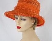 Vintage 1960s Hat Deep Crown Wide Brim Tangerine Straw Cloche by Mr Sol Sz 21 1/2