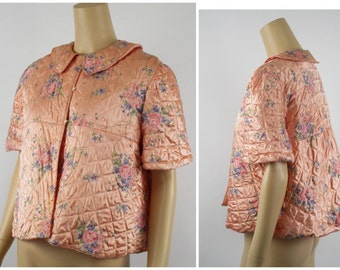 1940s 1950s Satin Quilted Floral Bedjacket B40
