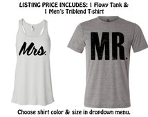 MR and MRS SHIRTS. Mrs Shirt. Mr Shirt. Honeymoon shirts.