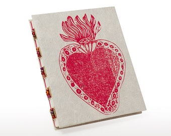 Red heart handmade journal, sacred heart, small notebook, gift under 15