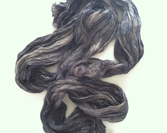 Charcoal Silk Scarf Hand Dyed Long Fiber Art OOAK from Textured Silks Collection - Smoke