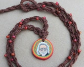 Jerry Garcia Grateful Dead Hemp Necklace with Glass Accents - Natural Hippie