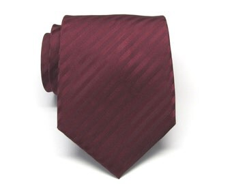 Mens Tie Burgundy Stripes Necktie With Matching Pocket Ssquare Option. Wedding Ties. Groomsmen Ties