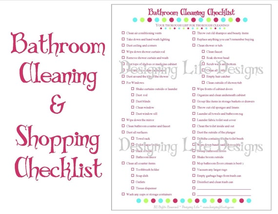 Bathroom Cleaning and Shopping Checklist   Two Printable Lists. Bathroom Cleaning and Shopping Checklist Two Printable Lists