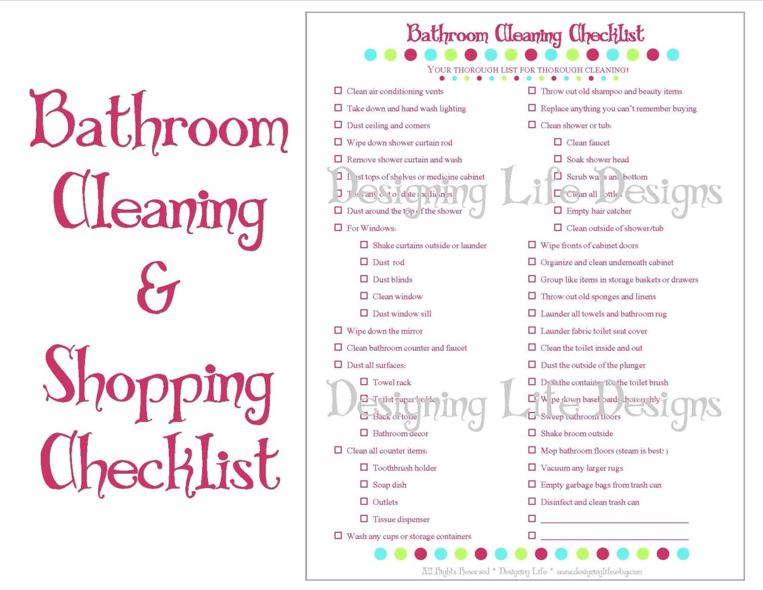 Bathroom Cleaning And Shopping Checklist Two Printable Lists