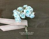 36 Miniature 2 tone Aqua Paper Roses
