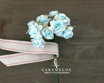 Bulk 144 Miniature 2 tone Aqua Paper Roses