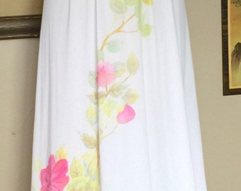 Kayser Long White Slip Night Gown with Floral Design
