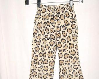 Vintage 70s Girls Kids Wide Leg Hippie Pants Leopard Print bch