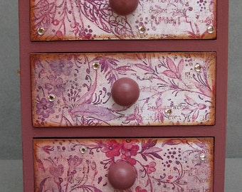 Fairy Three Drawer Dresser Decorative Keepsake Jewelry Box Chest