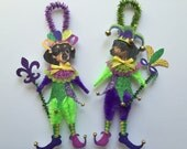 Dachshund MARDI GRAS ornaments dog ornaments vintage style chenille ORNAMENTS set of 2