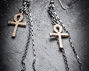 SALE bronze ANKH and silver chains earrings