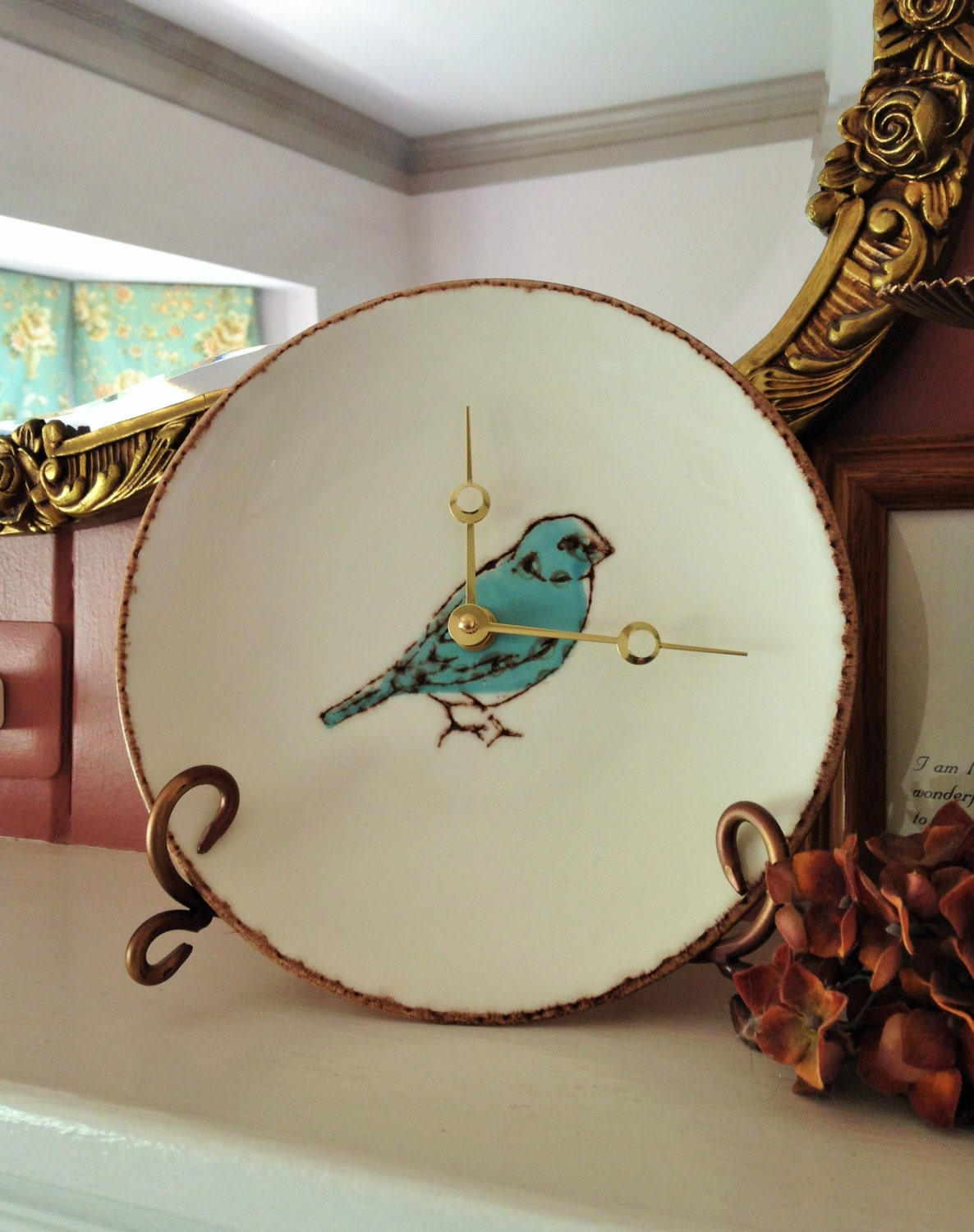 Springtime Blue Bird Ceramic Plate Clock Made In Portugal Hand
