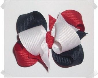 Petite Triple Loop Grosgrain Hair Bow in Red, White, and Navy Blue