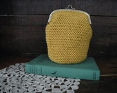 XL coin purse ~ kiss frame purse ~ crochet pouch ~ mustard yellow