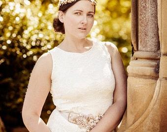 Wedding Headband  Bridal floral crown AYANNA , gold, cream, flowers, SALE