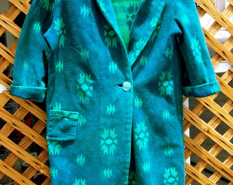 Vintage BEACON BLANKET ROBE Southwestern style Green