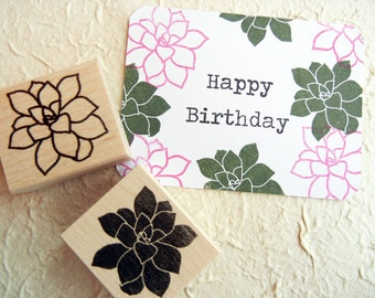 Succulent v2 Cactus Rubber Stamp // Hens and Chicks Plant Rubber Stamp - Handmade by BlossomStamps