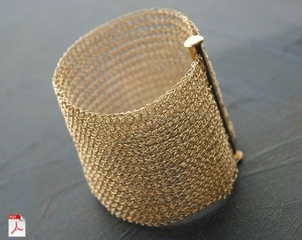 PDF pattern yoolacuff wide wire crochet cuff bracelet ebook instructions jewelry tutorial wire knitting