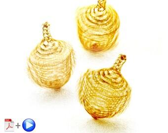 Hanukkah craft , Wire crochet  pattern of a spinning  Dreidel , spinning top wire crochet PDF & VIDEO tutorial , Hanukkah Gift
