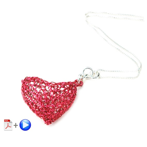 Valentine's day , Heart DIY , heart pattern , Video and pdf  tutorial wire crochet heart ,  how to make a heart , LOVE gift , pendant DIY