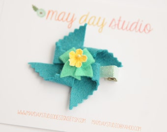 baby toddler girls felt pinwheel alligator hair clip - turquoise pinwheel with mint bow barrette - blue glitter clip