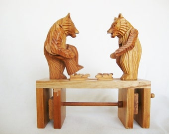 vintage bear,  hand carved, folk art toy, russian carved wood, animated motion, articulated toy