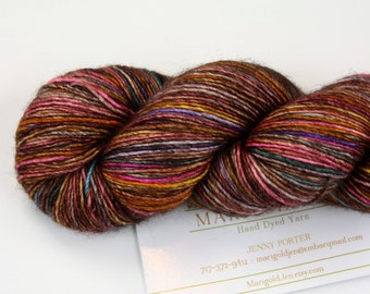What the Fox Says--hand dyed sock weight yarn, merino and silk single ply, (438yds/100gm)