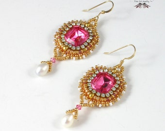 Anna Earrings, Pink, Gold