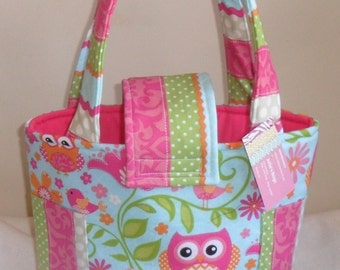 Medium Girly Owl Chevron and Stripes Diaper Bag