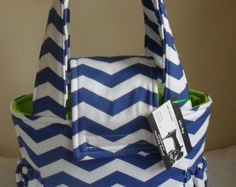 Small Royal Blue Chevron and Lime Green Toddler Short Trip Diaper Bag