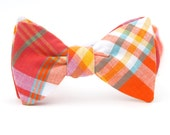 orange & magenta madras freestyle bow tie