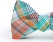 aqua & peach plaid freestyle bow tie for men
