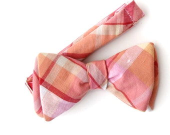 mens peach plaid freestyle bow tie