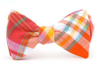 orange & magenta madras freestyle bow tie  //  mens plaid bow tie // self tie bow tie  // kids plaid bow tie