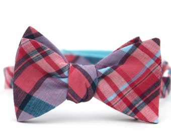 coral & navy madras freestyle bow tie