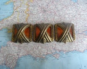 SALE! 3 ornate square Art Deco brass metal handles w/tortoiseshell amber accents
