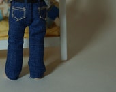 Wearable Blue Denim Trousers / Pants / Jeans - 1/12th scale miniature fashion by cwpoppets