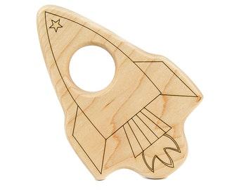 Rocket Wood Toy Teether