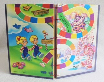 Candy Land Journal Recycled Vintage Game Board Book Upcycled Gameboard Journal by PrairiePeasant