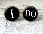 Silver or Brass Cufflinks - I Do -Wedding - Wearable Art- Handmade by Lisa Owens