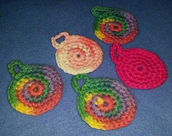 Pink Rainbow Mini Cotton Face Scrubbies - reusable cotton balls - qty 5